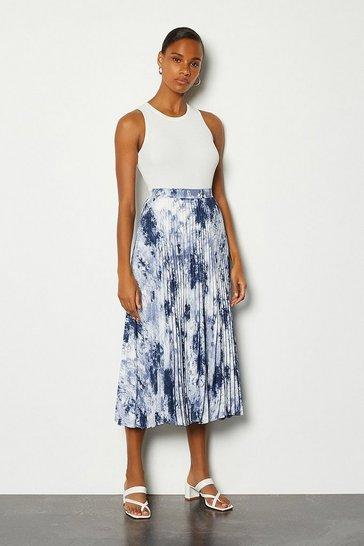 Blue Pleated Tie Dye Skirt