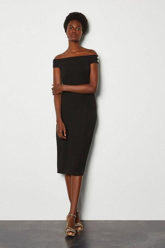 Black Ponte Rivet Detail Bardot Dress
