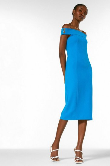 Cobalt Ponte Rivet Detail Bardot Dress