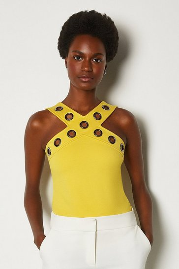 Yellow Ponte Eyelet Halter Top