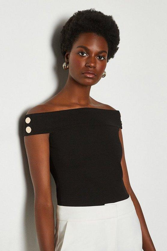 Black Rivet Detail Bardot Ponte Top