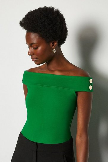 Bright green Rivet Detail Bardot Ponte Top