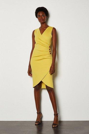 Bright yellow Pleat Detail Hardware Ponte Dress