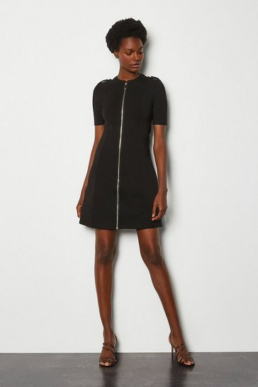 Black Military Ponte Dress