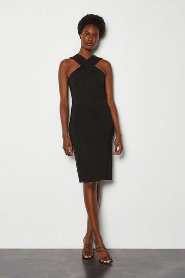 Black Rivet Detail Cross Neck Ponte Dress