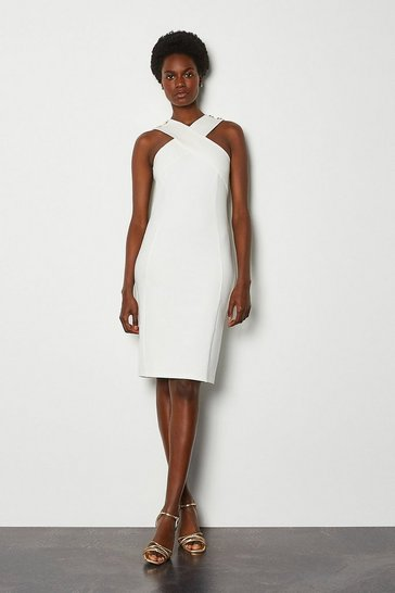 Ivory Rivet Detail Cross Neck Ponte Dress