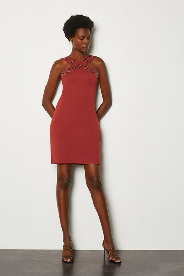 Rust Ponte Eyelet Halter Dress