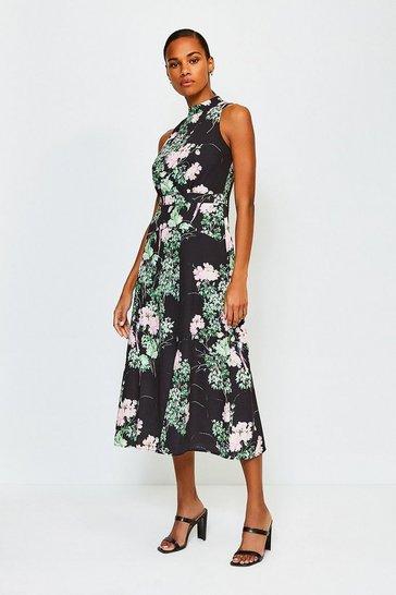 Black Floral Print Sleeveless Midi Dress
