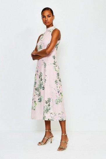 Pink Floral Print Sleeveless Midi Dress