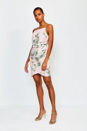 Pink Floral Print Strappy Short Dress