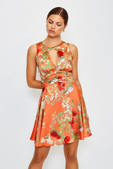 Orange Floral Print Sleeveless Short Dress
