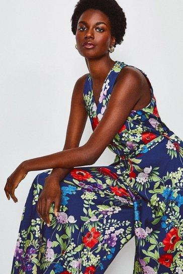 Blue Floral Print Halterneck Jumpsuit
