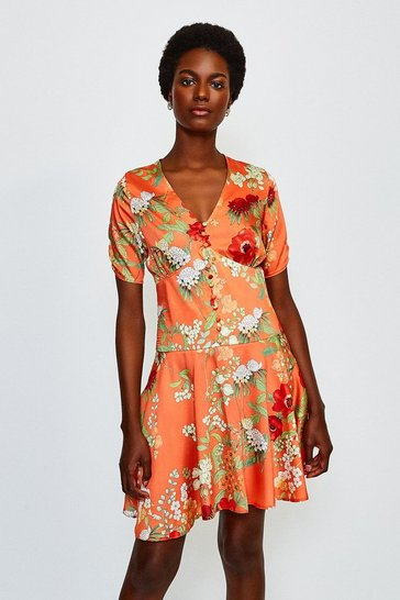 Orange Floral Angel Sleeve Short Dress