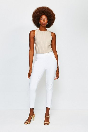 Ivory Button Detail Cotton Sateen Capri Trousers