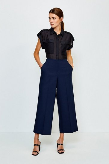 Navy Cropped Cotton Sateen Wide Leg Trousers