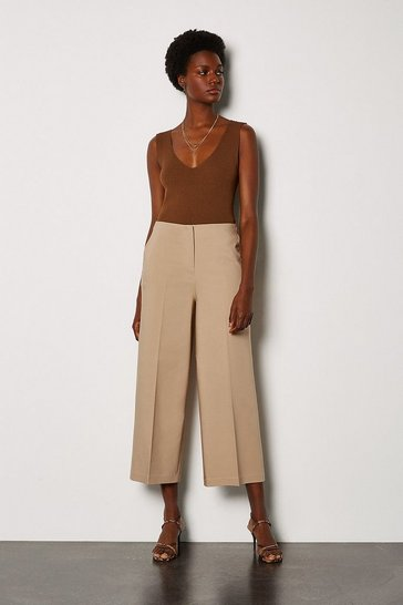 Stone Cropped Cotton Sateen Wide Leg Trousers