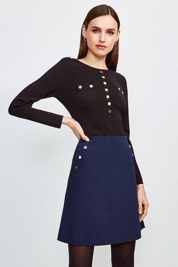 Navy Button Detail Cotton Sateen A Line Skirt