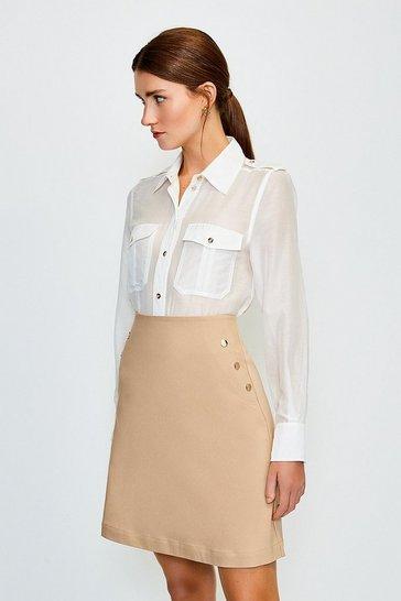Stone Button Detail Cotton Sateen A Line Skirt
