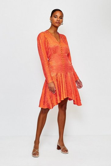 Orange Animal Jacquard Button Up Flippy Dress