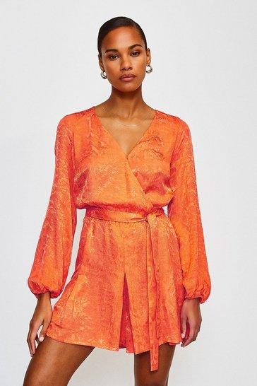 Orange Animal Jacquard Wrap Playsuit