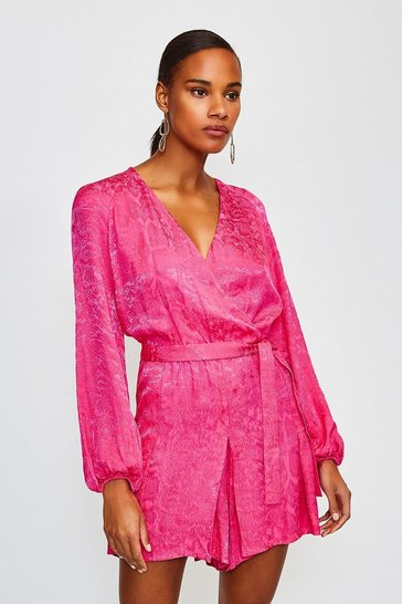 Pink Animal Jacquard Wrap Playsuit