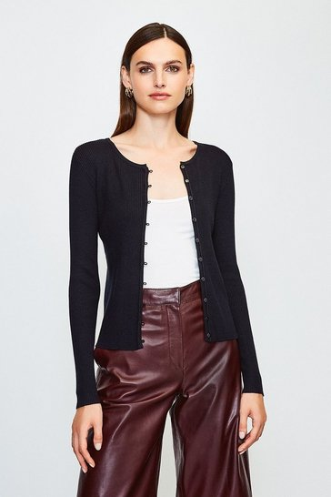 Black Button Through Crew Neck Cardigan