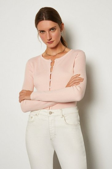 Blush Button Through Crew Neck Cardigan