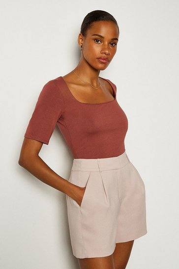 Brown Viscose Square Neck Short Sleeve Top