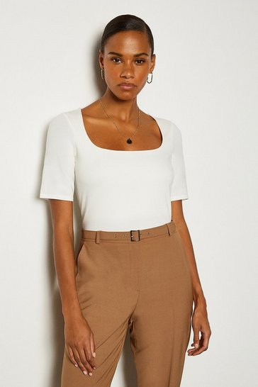 White Viscose Square Neck Short Sleeve Top