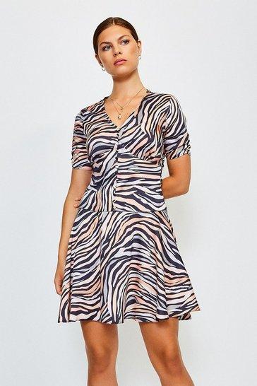 Nude Animal Print Short Sleeve Dress