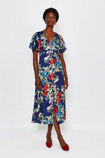 Blue Floral Midi Short Sleeve Dress
