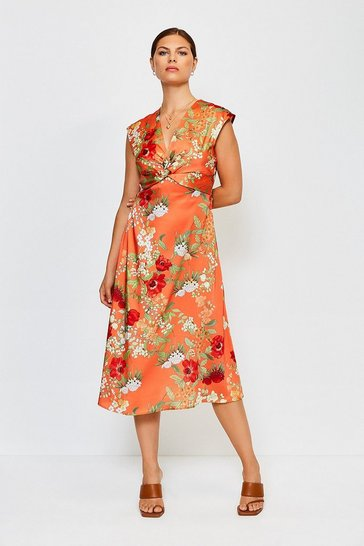 Orange Printed Twist Sleeveless Midi Dress