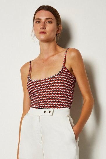Red Viscose Print Strappy Top