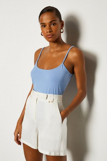 Blue Viscose Jersey Strappy Cami