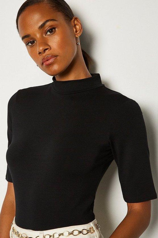 Black Viscose Jersey Short Sleeve Funnel Top