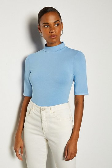 Blue Viscose Jersey Short Sleeve Funnel Top
