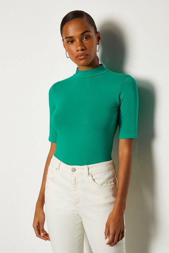 Green Viscose Jersey Short Sleeve Funnel Top