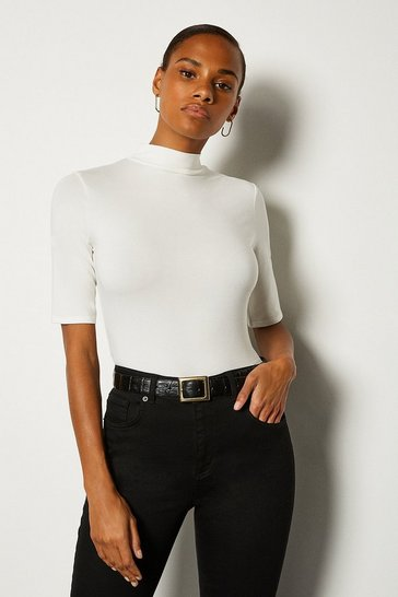 White Viscose Jersey Short Sleeve Funnel Top