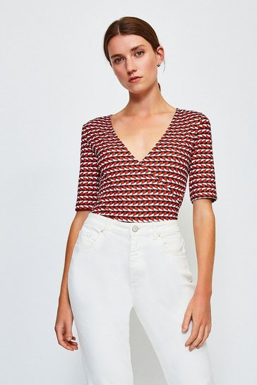 Red Viscose Short Sleeved Print Wrap Top