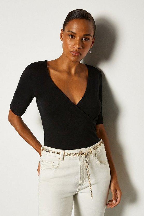 Black Short Sleeve Viscose Jersey Wrap Top