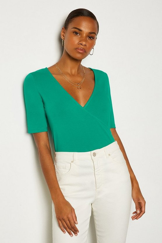 Green Short Sleeve Viscose Jersey Wrap Top