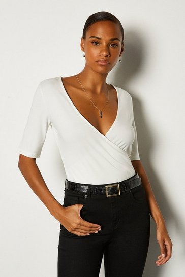 White Short Sleeve Viscose Jersey Wrap Top