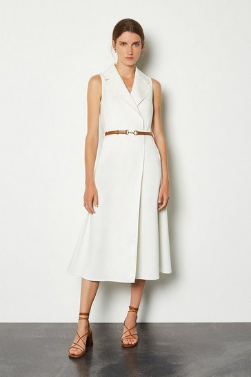 Ivory Belted Collar Wrap Dress