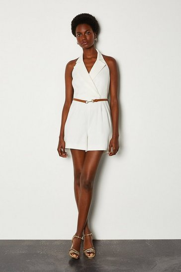 Ivory Tuxedo Halter Belted Playsuit