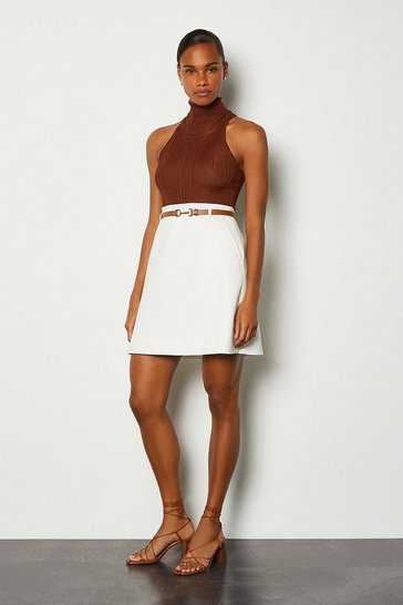 Ivory Belted A-Line Skirt
