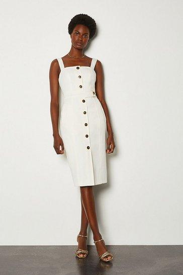 Ivory Square Neck Button Detail Dress