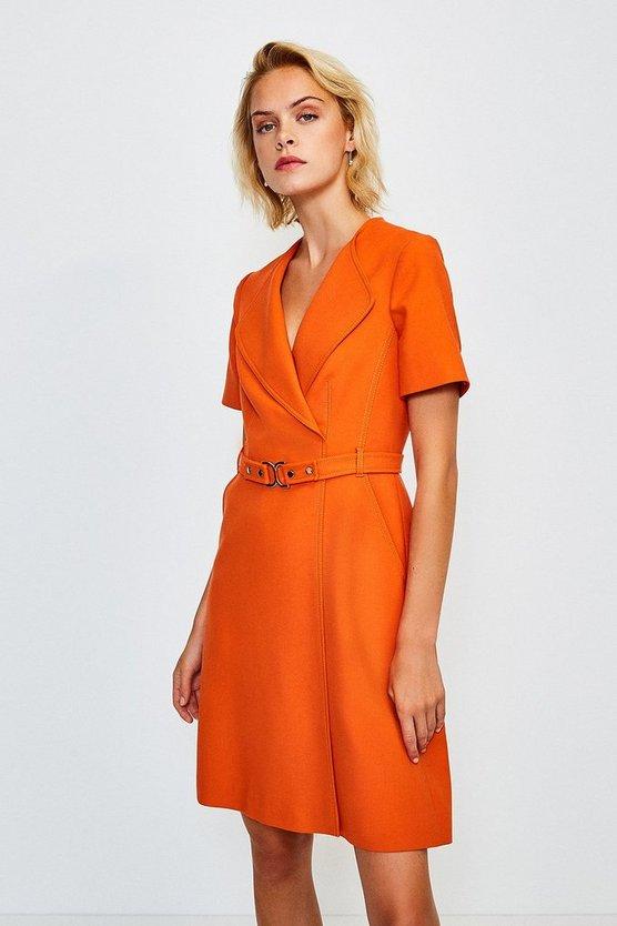 Orange D Ring Cinch Waist Dress