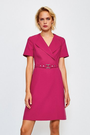 Pink D Ring Cinch Waist Dress