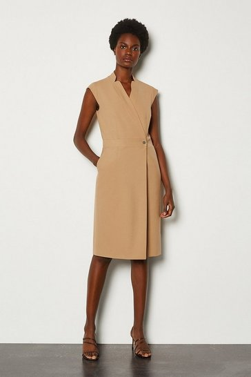 Camel Collar Wrap Sleeveless Midi Dress
