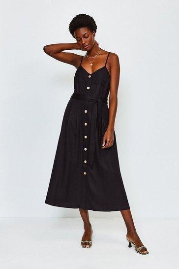 Black Linen Mix Strappy Dress